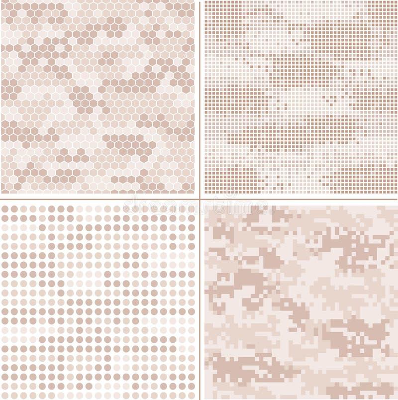 För PIXELkamouflage för sömlös vektor digital samling - Urban, öken, djungel, snöcamouppsättning royaltyfri illustrationer