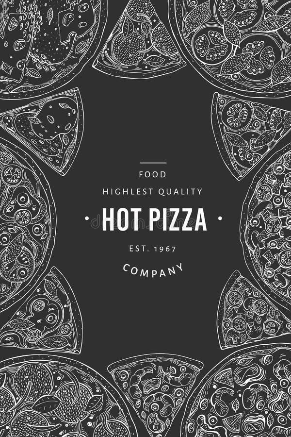 För pizzabaner för vektor italiensk mall Utdragen tappningillustration för hand på kritabräde Italiensk matdesign Vara kan bruk f royaltyfri illustrationer