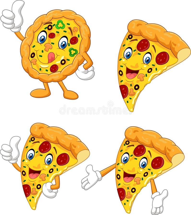 För pizzasamling för tecknad film rolig uppsättning royaltyfri illustrationer