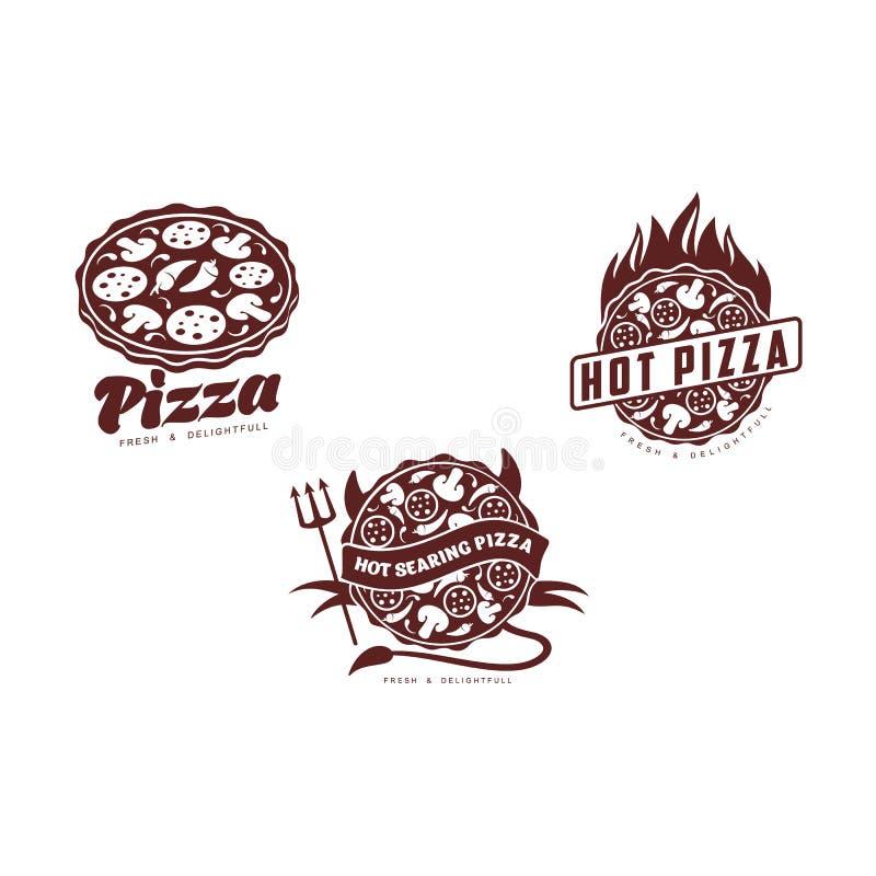 För pizzasymbol för vektor plan uppsättning för pictogram stock illustrationer