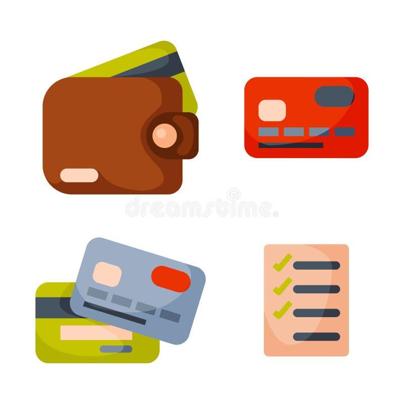För plånboksymbol för plana pengar betalning för finans för valuta för kontant affär för köp för danande för lista för kontroll o vektor illustrationer