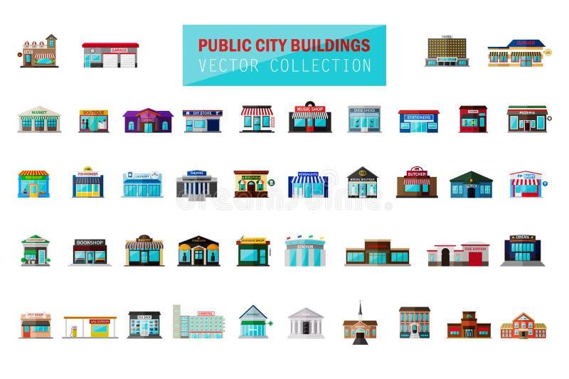 För plan byggnad för staden tecknad filmstil för vektorn shoppar modern, marknaden, snabbmatkafét, restaurang, lagerfasaden, bout stock illustrationer