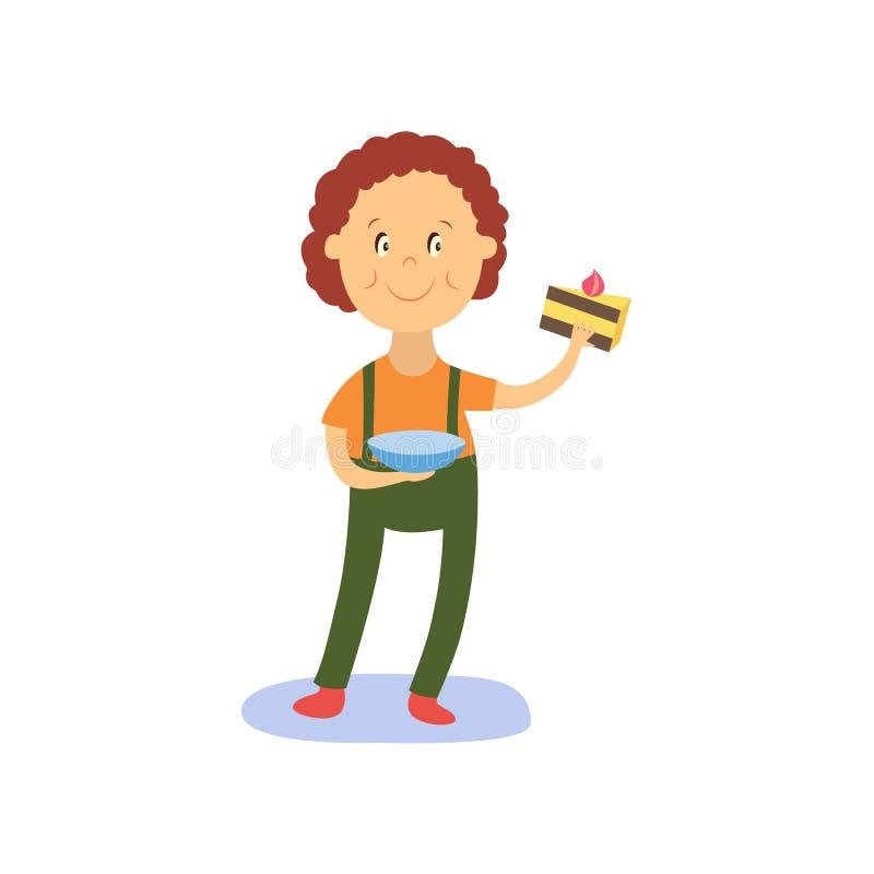 För plan hållande stycke pojkeunge för vektor av kakan royaltyfri illustrationer