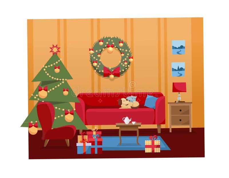 För plan inre illustration tecknad filmvektor för jul av vardagsrum som dekoreras för ferier Hemtrevlig varm hemmiljö med möblema stock illustrationer