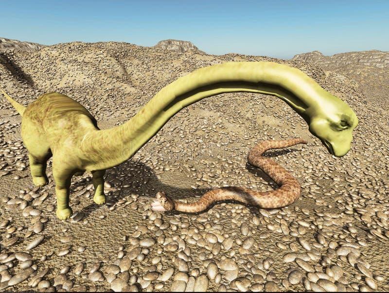 För platsdinosaurie för dinosaurier Jurassic förhistorisk stridighet med tolkningen för orm 3d stock illustrationer