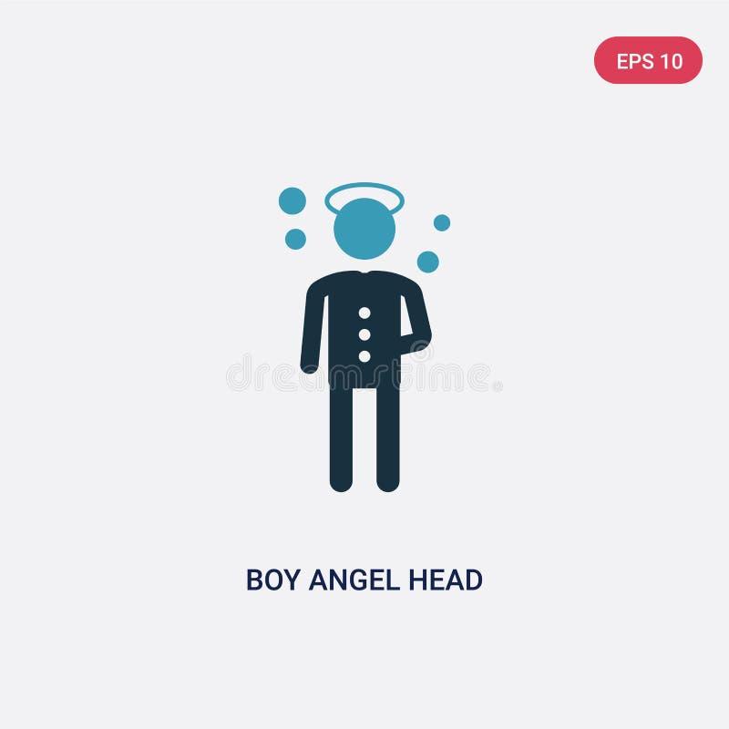 För pojkeängel för två färg symbol för vektor för huvud från folkbegrepp det isolerade för ängelhuvudet för den blåa pojken symbo vektor illustrationer