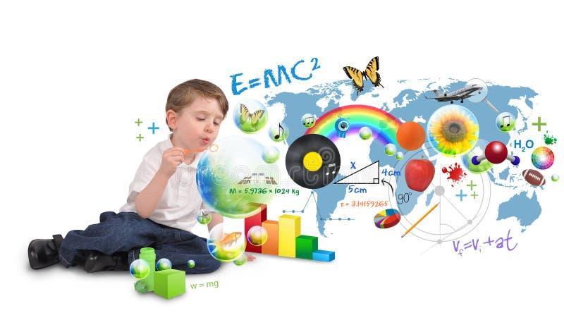 för pojkebubblor för konst smart slående scinec för snille arkivfoto