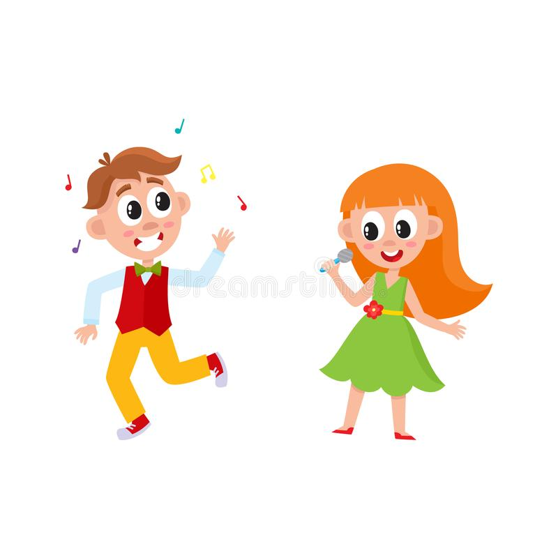 För pojkeflicka för vektor plant dans och sjunga vektor illustrationer