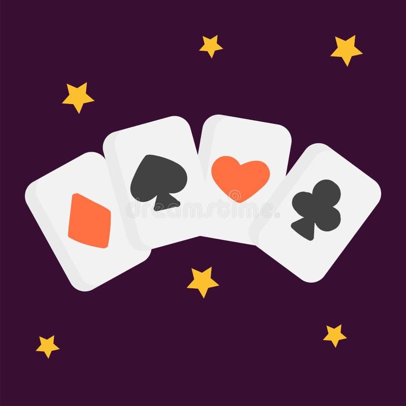 För pokerkort för tappning illustration för vektor för grafisk teckning för retro för konst för stil symbol för hasardspelare skä royaltyfri illustrationer