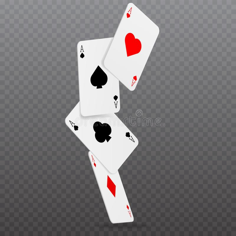 För pokerkort för kasino fallande begrepp för lek royaltyfri illustrationer