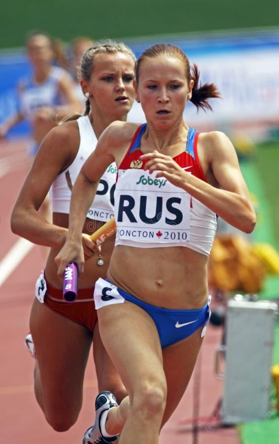 för poland för räkneverk 4x400 russia relay kvinnor royaltyfria bilder