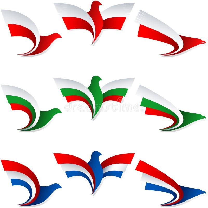 För Polen för gradbeteckning för symbol för tecken för fågelflugaflagga Nederländerna Bulgarien royaltyfri illustrationer