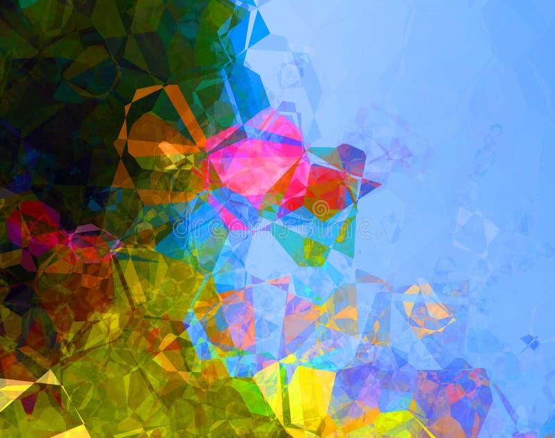 För polygonabstrakt begrepp för blå gräsplan bakgrund stock illustrationer