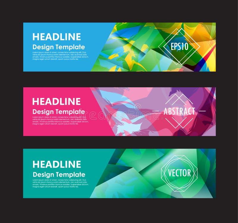 För polygonbakgrund för baner abstrakt färgrik templa för vektor för design vektor illustrationer