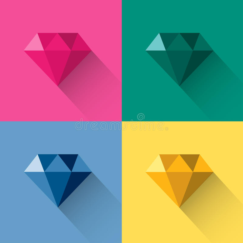 För polygonlogo för diamant färgrik vektor royaltyfri illustrationer