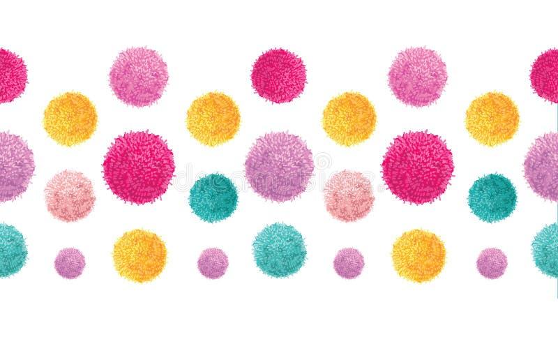 För Pom Poms Set Horizontal Seamless för parti för födelsedag för vektorrosa färgguling färgrik modell för gräns repetition Utmär stock illustrationer