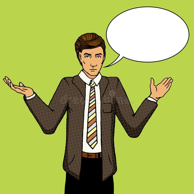 För popkonst för affärsman obeslutad illustration för vektor royaltyfri illustrationer