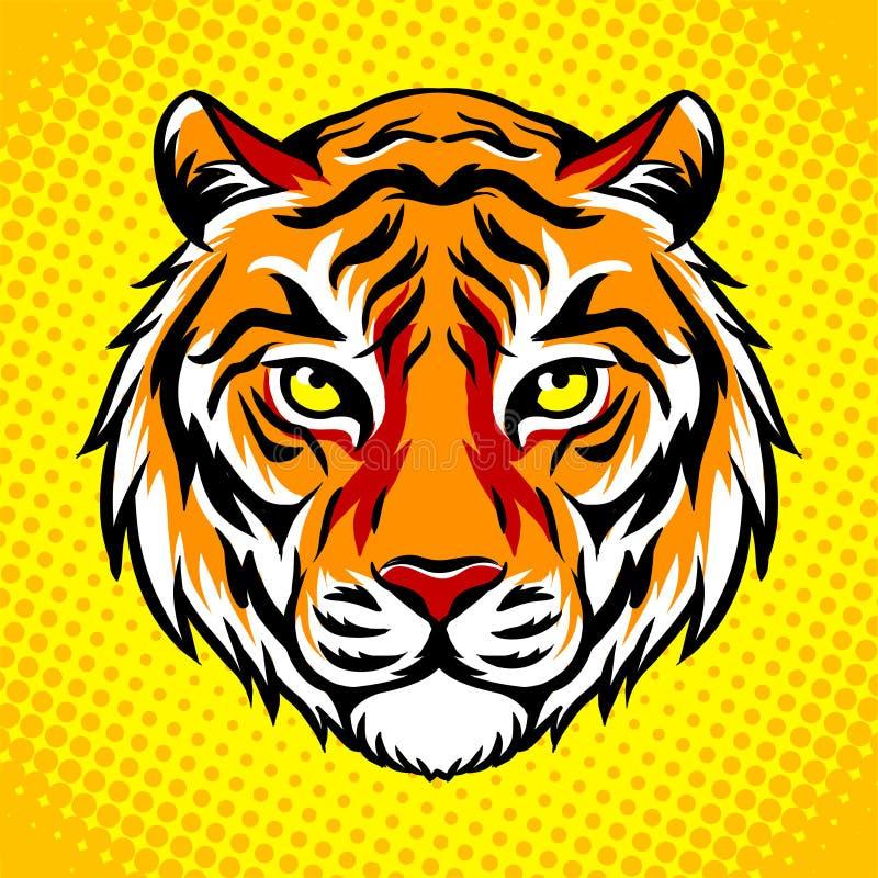 För popkonst för tiger head illustration för vektor för stil stock illustrationer