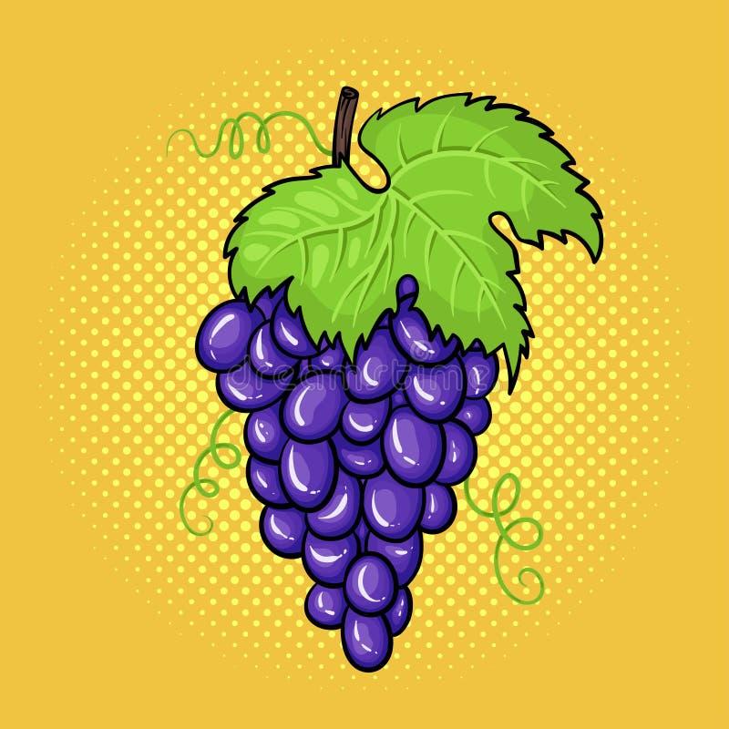 För popkonst för vektor hand dragen illustration av gruppen av druvor royaltyfri illustrationer