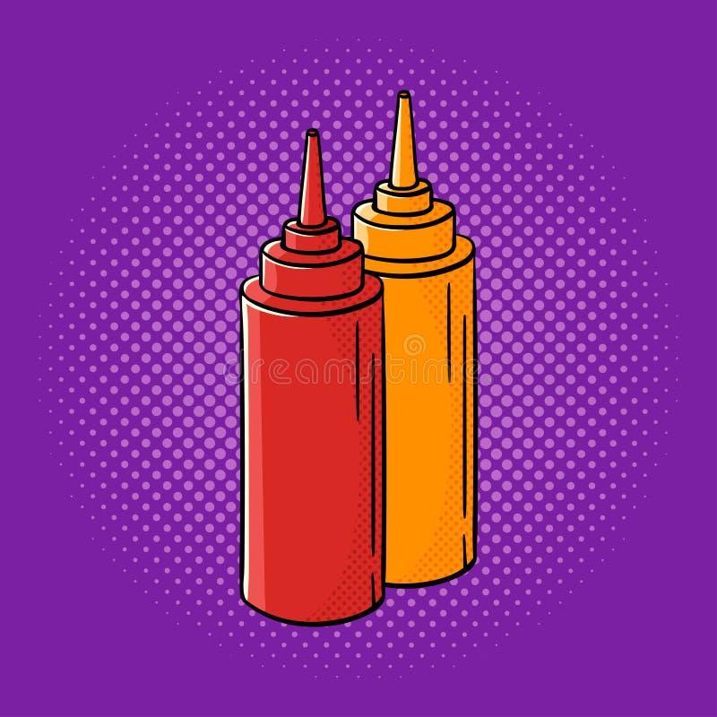 För popkonst för vektor hand dragen illustration av ketchup och senap stock illustrationer