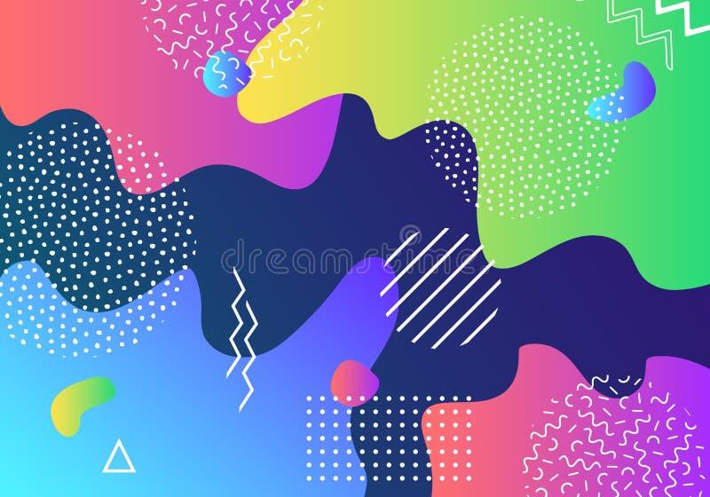 För popkonst för vektor abstrakt bakgrund för modell med linjer och prickar Moderna vätskefärgstänk av geometriska former royaltyfri illustrationer