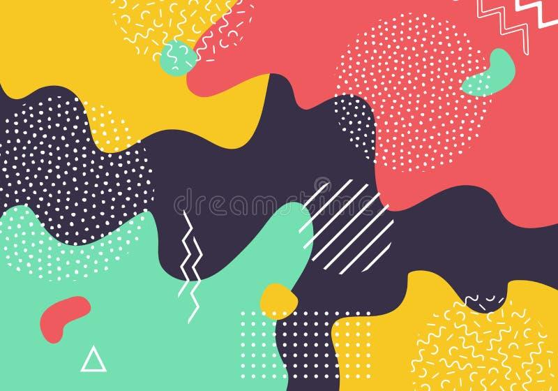 För popkonst för vektor abstrakt bakgrund för modell med linjer och prickar Moderna vätskefärgstänk av geometriska former vektor illustrationer