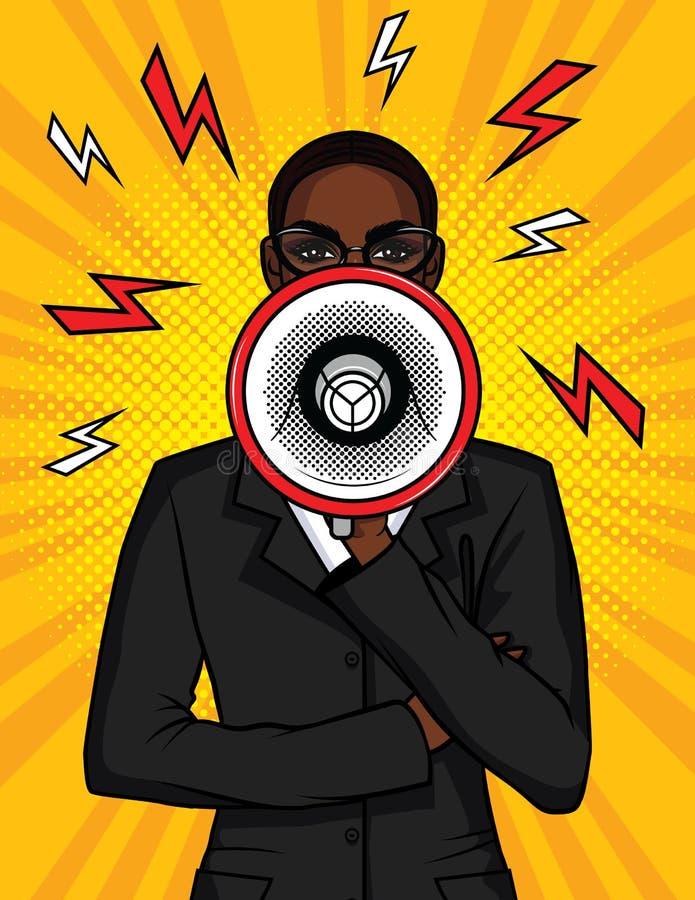 För popkonst för vektor färgrik komisk illustration av en afrikansk amerikanflicka med en högtalare i hennes hand stock illustrationer