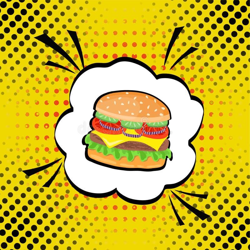 För popkonst för vektor hand dragen illustration av hamburgaren Skjutit i en studio royaltyfri illustrationer