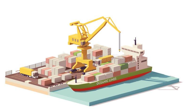 För portbehållare för vektor lågt poly terminal och skepp vektor illustrationer