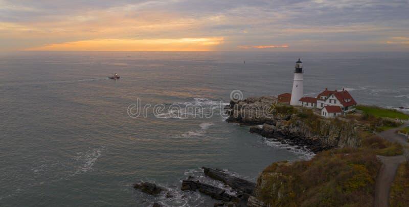 För Portland för flyg- sikt tillstånd för torn för fyr huvud av Maine Nautical royaltyfri bild