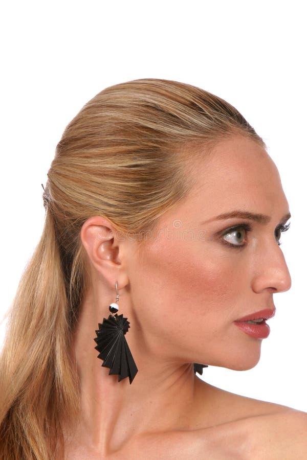 för portraprofil för härliga blonda ögon grå kvinna arkivfoton