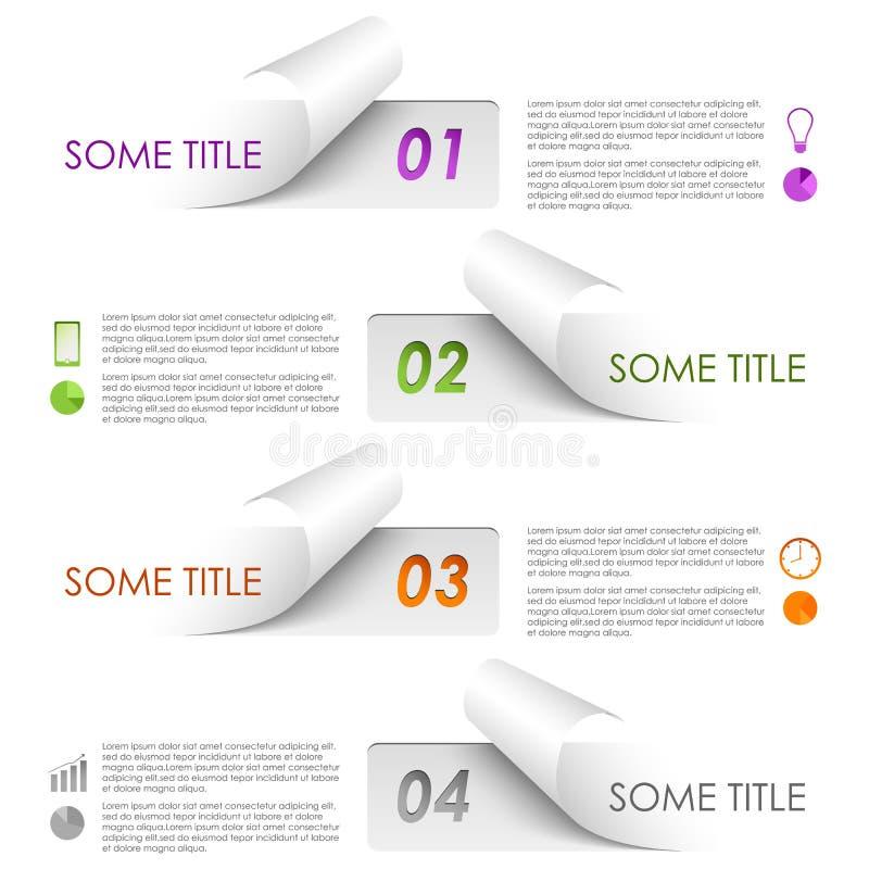 För prövkopiaklistermärkear för information grafisk färgrik mall vektor illustrationer