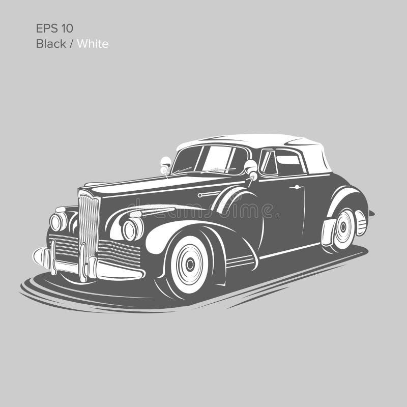 För pre-krig för gammal tappning retro illustration för vektor roadster Exklusiv och lyxig bil vektor illustrationer