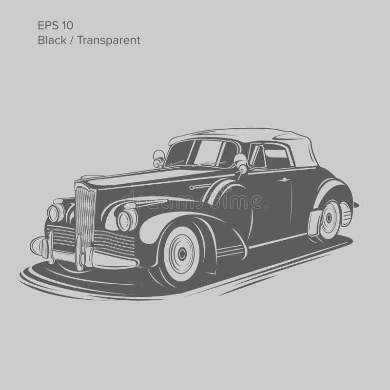 För pre-krig för gammal tappning retro illustration för vektor roadster Exklusiv och lyxig bil stock illustrationer