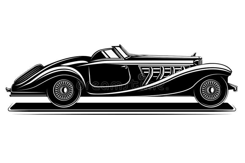För pre-krig för gammal tappning retro illustration för vektor roadster Exklusiv och lyxig bil royaltyfri illustrationer