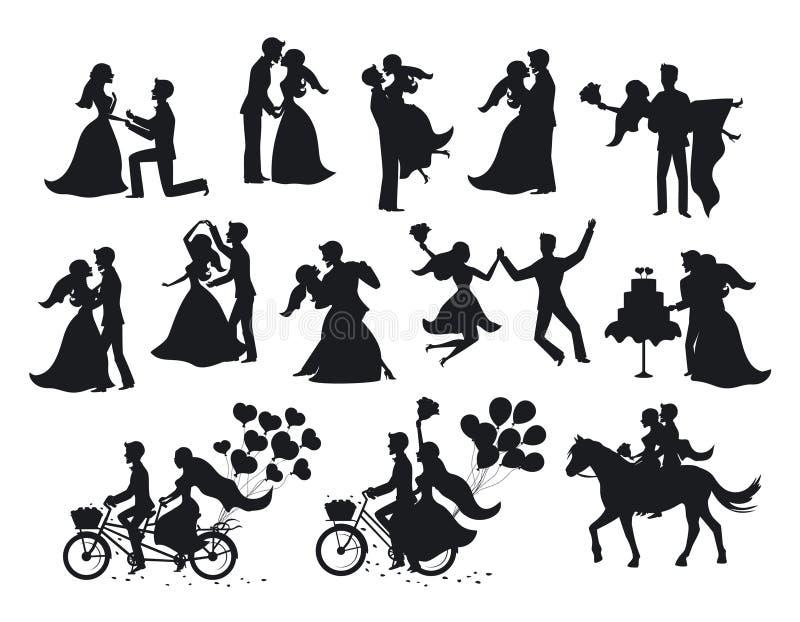 För precis gifta, nygifta personer, brud- och brudgumkonturer ställde in stock illustrationer