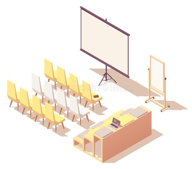 För presentationsrum för vektor isometrisk inre royaltyfri illustrationer
