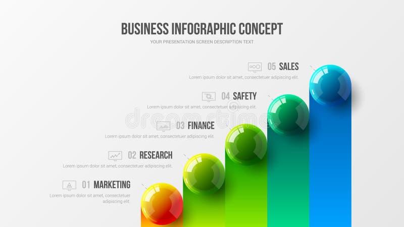 För presentationsvektor för fantastisk affär infographic begrepp för illustration Företags marknadsföringsanalyticsdata anmäler i vektor illustrationer
