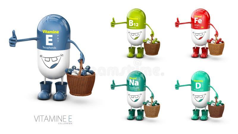 För preventivpillertecknad film för vitamin E glänsande kapsel med uppsättningen av vitaminen illustration 3d royaltyfri illustrationer