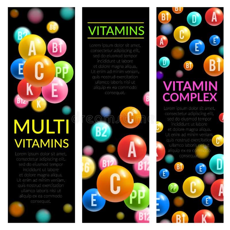 För preventivpillervektor för mång- vitamin komplexa baner vektor illustrationer