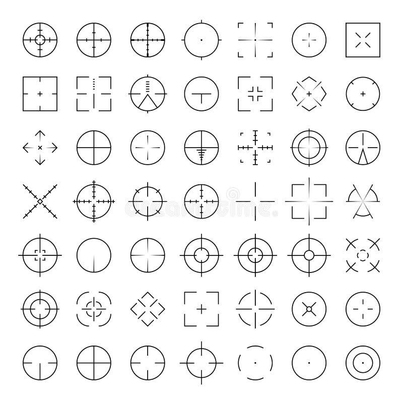 För prickskytträckvidd för automatiskt gevär uppsättning för symbol för thinline för crosshairs Skåror för AR-Collimatorsikt Mili stock illustrationer
