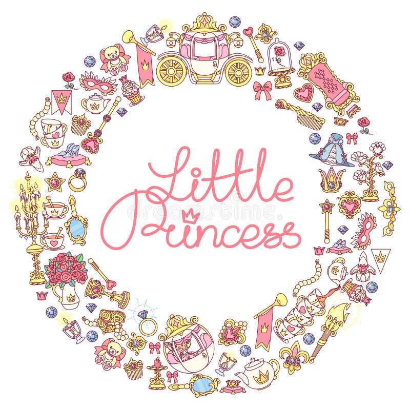 För prinsessasymboler för vektor liten ram stock illustrationer
