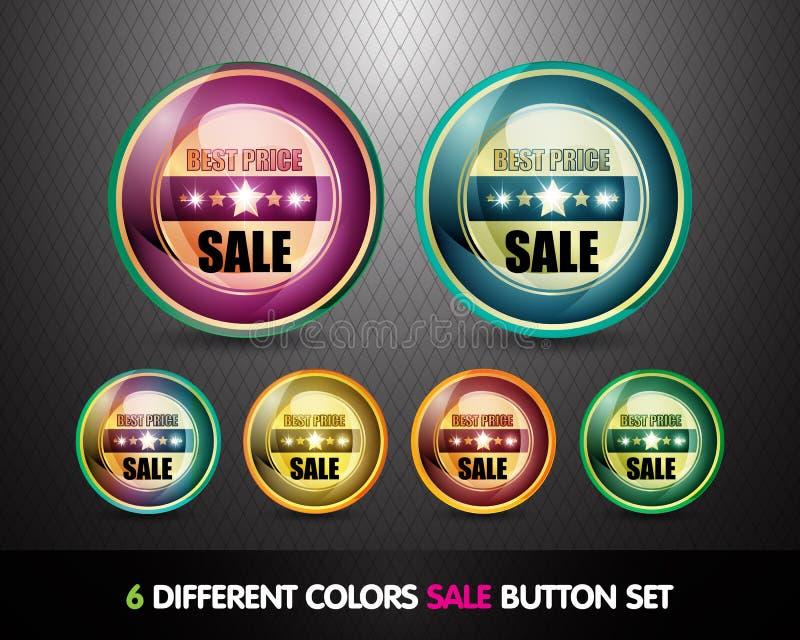 för prisförsäljning för bäst knapp färgrik set stock illustrationer