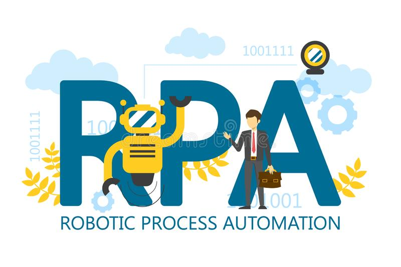 För processautomation för RPA robotic isolerad illustration vektor royaltyfri illustrationer