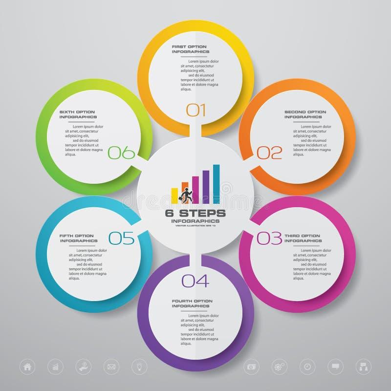 för processdiagram för 6 moment beståndsdel för infographics stock illustrationer