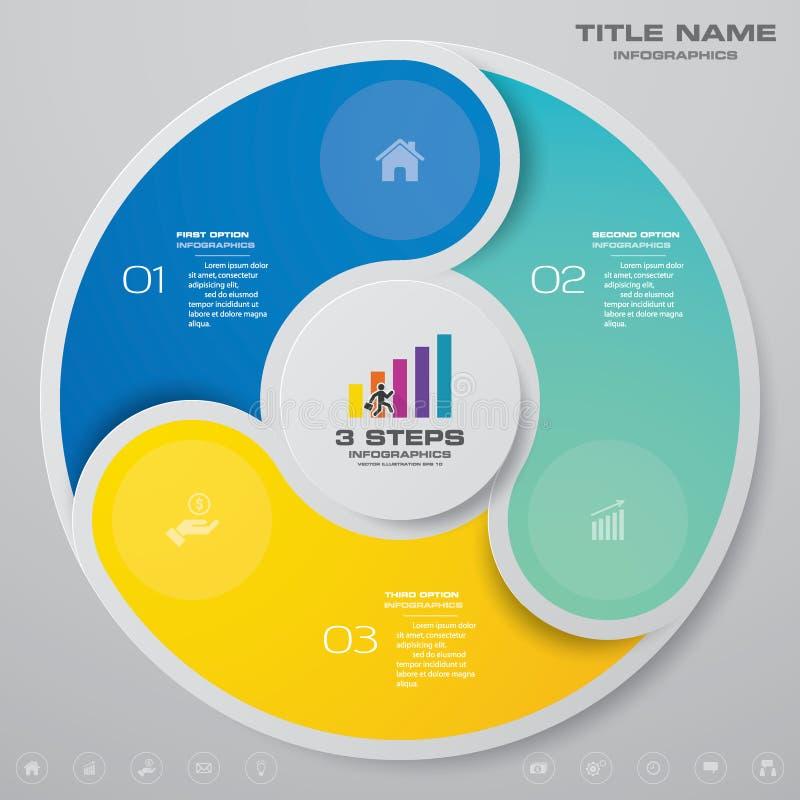 för processdiagram för 3 moment simple&editable beståndsdel för infographics royaltyfri illustrationer