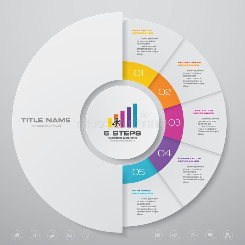 för processdiagram för 5 moment simple&editable beståndsdel för infographics stock illustrationer
