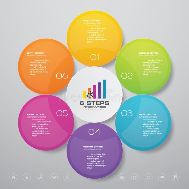 för processdiagram för 6 moment simple&editable beståndsdel för infographics stock illustrationer