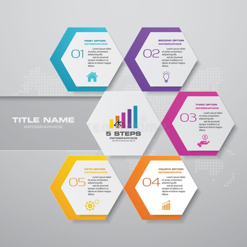 för processdiagram för 5 moment simple&editable beståndsdel för infographics royaltyfri illustrationer