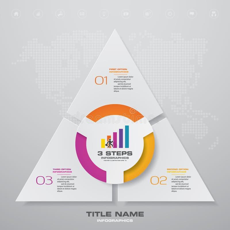 för processdiagram för 3 moment simple&editable beståndsdel för infographics vektor illustrationer